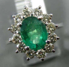 LARGE 2.75CT DIAMOND & EMERALD 14KT WHITE GOLD 3D PRINCESS DIANA ENGAGEMENT RING