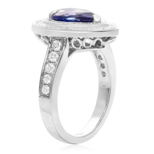 LARGE 3.07CT DIAMOND & AAA TANZANITE 14KT WHITE GOLD 3D PEAR SHAPE FILIGREE RING