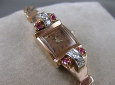 "ANTIQUE OLD MINE DIAMOND RUBY 14K WHITE ROSE GOLD BELECO WATCH 7.25"" INCH #19853"