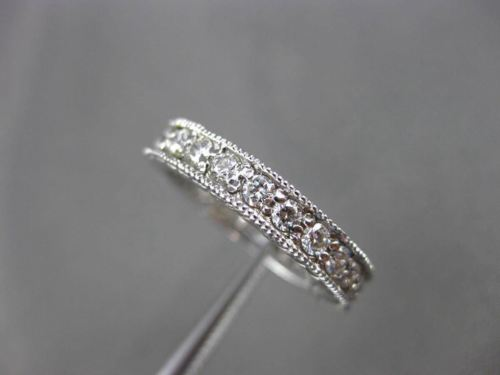 ANTIQUE .90CT DIAMOND 14KT WHITE GOLD FILIGREE ETERNITY ANNIVERSARY RING #18731