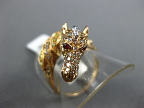 LARGE .96CT WHITE & FANCY YELLOW DIAMOND & AAA RUBY 18KT ROSE GOLD 3D HORSE RING