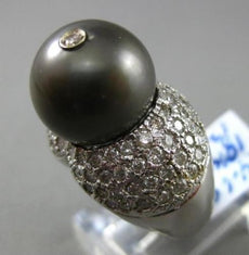 ESTATE LARGE 1.84CT DIAMOND & TAHITIAN PEARL 18K WHITE GOLD ETOILE COCKTAIL RING