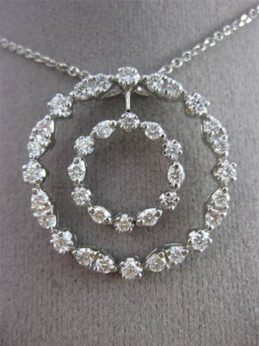 ANTIQUE 2.70CT DIAMOND 14K WHITE GOLD 3D CIRCLE OF LIFE FLOATING PENDANT #19609
