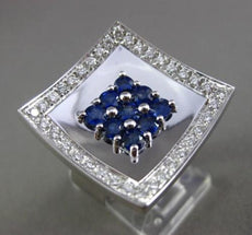 ESTATE MASSIVE 1.75CT DIAMOND & AAA BLUE SAPPHIRE 18KT WHITE GOLD 3D SQUARE RING