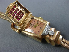 ANTIQUE BULOVA 2.55CT OLD MINE DIAMOND & AAA RUBY 14KT ROSE GOLD WATCH BRACELET