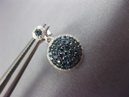 ESTATE .90CT WHITE & BLUE DIAMOND 14KT WHITE GOLD ROUND CLUSTER HANGING EARRINGS
