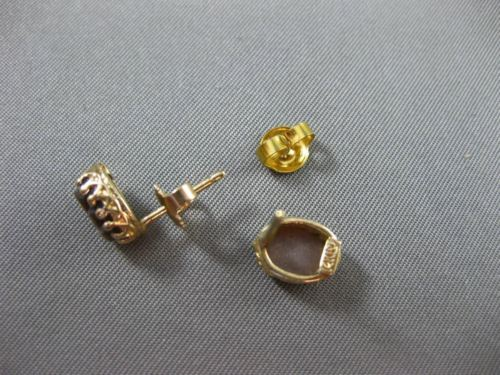 ANTIQUE 14KT YELLOW GOLD 3D HANDCRAFTED LADY CAMEO OVAL STUD EARRINGS #25295