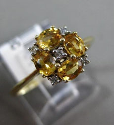 ESTATE .65CT ROUND DIAMOND & AAA OVAL CITRINE 14K YELLOW GOLD FLOWER SQUARE RING