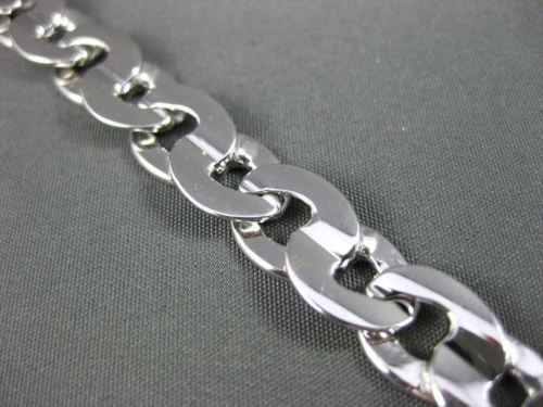 ESTATE WIDE 14KT WHITE GOLD SOLID HANDCRAFTED ITALIAN CLASSIC BRACELET #22778