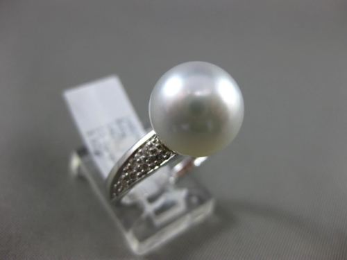 ESTATE .14CT DIAMOND 14KT WHITE GOLD AAA SOUTH SEA PEARL 3D PAVE SOLITAIRE RING