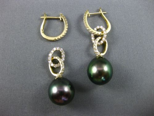 LARGE .81CT DIAMOND & AAA TAHITIAN PEARL 18K YELLOW GOLD OVAL TEAR DROP EARRINGS