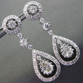 ANTIQUE 2.10CT DIAMOND 14KT WHITE GOLD PEAR HALO DROP EARRINGS STUNNING #2738