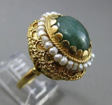 ANTIQUE LARGE SOUTH SEA PEARL & AAA JADE 14K YELLOW GOLD 3D COCKTAIL RING #24821