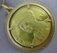 ESTATE MASSIVE 22KT & 18KT YELLOW GOLD GENERAL MOSHE DAYAN ISRAELI COIN PENDANT