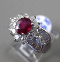ESTATE WIDE 1.96CT DIAMOND & AAA OVAL RUBY 3D PLATINUM FLOWER ENGAGEMENT RING