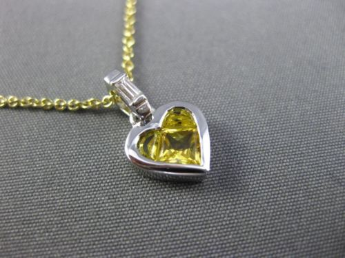 1.60CT DIAMOND & AAA YELLOW SAPPHIRE 14K WHITE GOLD INVISIBLE HEART LOVE PENDANT