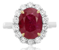 EGL CERTIFIED 5.70CT DIAMOND & AAA RUBY 18KT 2 TONE GOLD CLASSIC ENGAGEMENT RING