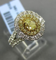 LARGE 2.49CT WHITE & FANCY YELLOW DIAMOND 18K TWO TONE GOLD HALO ENGAGEMENT RING