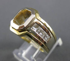 ESTATE WIDE .90CT DIAMOND 18KT TWO TONE GOLD SEMI MOUNT ENGAGEMENT RING 21109