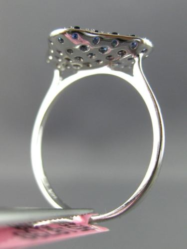 ESTATE 1.13CT DIAMOND & AAA SAPPHIRE 14KT WHITE GOLD 3D SQUARE FLOWER FUN RING
