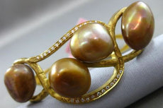 ANTIQUE LARGE .25CT DIAMOND & AAA BROWN PEARL 14KT YELLOW GOLD BAMBOO BRACELET
