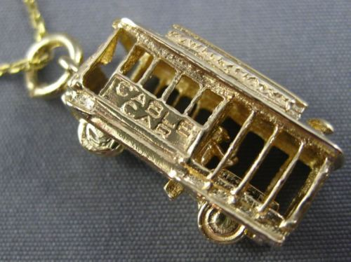 ANTIQUE 14KT YELLOW GOLD HANDCRAFTED SAN FRANCISCO CABLE CAR TROLLEY CHARM 25815