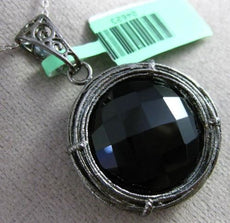 ESTATE LARGE 25.0CT BLACK ONYX 18KT BLACK GOLD WOVEN SOLITAIRE FLOATING PENDANT