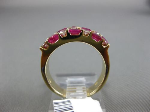 ESTATE 1.58CT ROUND DIAMOND & AAA BAGUETTE RUBY 14KT YELLOW GOLD THREE ROW RING