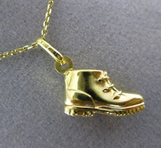 ESTATE 14KT YELLOW GOLD 3D HANDCRAFTED BABY BOOT CHARM PENDANT WITH CHAIN #25294