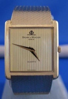 NEW SQUARE 14K YELLOW GOLD BAUME & MERCIER THIN QUARTZ WATCH