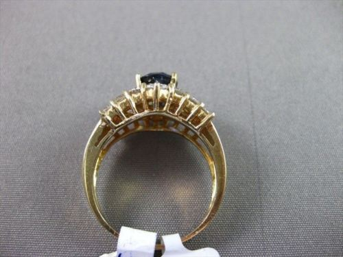 ESTATE WIDE 2.95CT DIAMOND & AAA SAPPHIRE 18KT YELLOW GOLD ENGAGEMENT RING !!