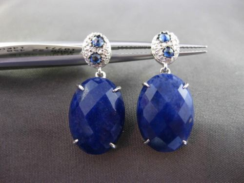 ANTIQUE LARGE 10.47CT DIAMOND & AAA SAPPHIRE 14KT WHITE GOLD 3D HANGING EARRINGS