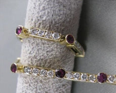 "ANTIQUE 2.50CTW DIAMOND RUBY 14KT YELLOW GOLD LINE TENNIS BRACELET 6.50"" #20204"