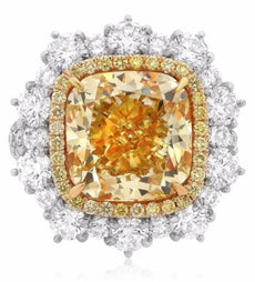 14.30CT WHITE & FANCY YELLOW DIAMOND 18KT 2 TONE GOLD 3D ENGAGEMENT RING PENDANT