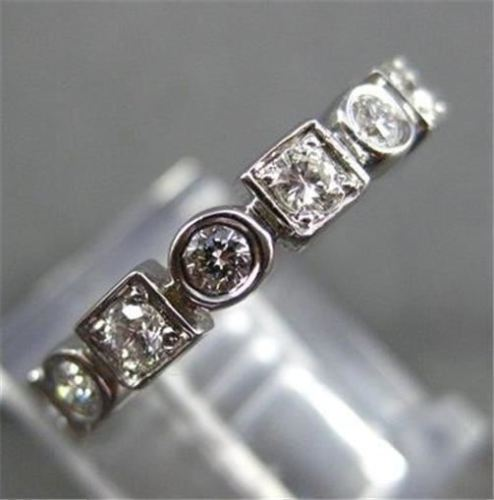 ANTIQUE .80CT DIAMOND 14KT WHITE GOLD ROUND SQUARE ETERNITY RING 3mm #16334