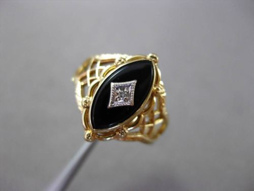 ANTIQUE .02CT OLD MINE DIAMOND & AAA ONYX FILIGREE WHITE & YELLOW GOLD RING #837