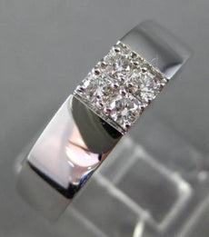 ESTATE .26CT DIAMOND 18K WHITE GOLD ROUND SQUARE 4 STONE MENS RING F/G VVS/VS