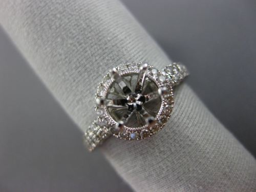 ESTATE WIDE .50CT DIAMOND 14K WHITE GOLD FILIGREE HALO SEMI MOUNT ENGAGMENT RING