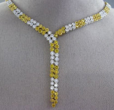 LONG GIA 8.49CT WHITE & FANCY YELLOW DIAMOND 18KT 2 TONE GOLD 3D LARIAT NECKLACE