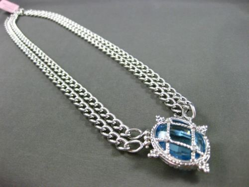 ANTIQUE 20.04CT DIAMOND & BLUE TOPAZ 14KT WHITE GOLD 3D ETOILE FILIGREE NECKLACE