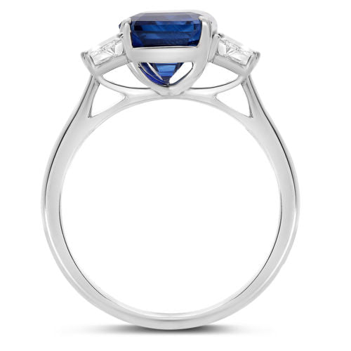ESTATE 5.59CT DIAMOND & AAA SAPPHIRE PLATINUM 3D THREE STONE ENGAGEMENT RING
