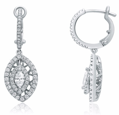 ESTATE 1.04CT ROUND & MARQUISE DIAMOND 14KT WHITE GOLD 3D HALO HANGING EARRINGS