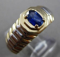 ESTATE .52CT AAA SAPPHIRE 14K WHITE & YELLOW GOLD SOLITAIRE OVAL MENS GYPSY RING