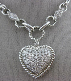 ESTATE LARGE 1.0CT DIAMOND 14KT WHITE GOLD 3D PAVE ROPE LARIAT LOVE NECKLACE