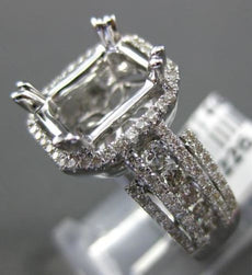 LARGE .94CT DIAMOND 14KT WHITE GOLD HALO EMERALD CUT SEMI MOUNT ENGAGEMENT RING