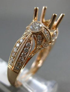 ESTATE LARGE .85CT DIAMOND 14KT ROSE GOLD 3D FILIGREE SEMI MOUNT ENGAGEMENT RING