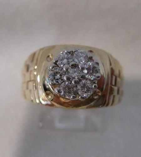 LARGE DIAMOND CLUSTER 14K WHITE & YELLOW GOLD WOVEN WIDE MENS RING F/G VS #3771