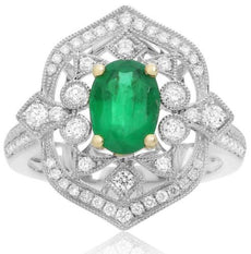 LARGE GIA CERTIFIED 1.68CT DIAMOND & AAA EMERALD 18K 2 TONE GOLD ENGAGEMENT RING
