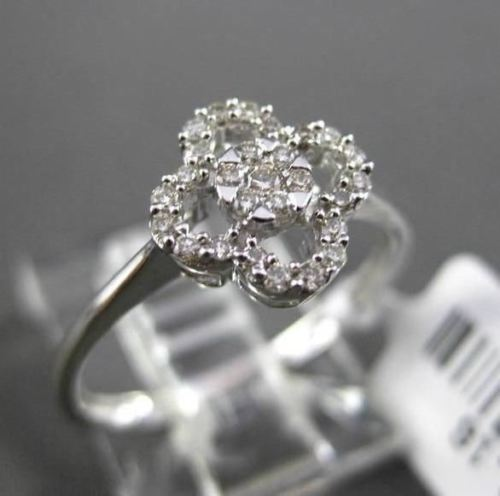 ANTIQUE SMALL .16CT DIAMOND 14KT WHITE GOLD FLORAL FOUR PETAL PAVE CLUSTER RING