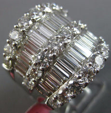 ESTATE EXTRA LARGE 4.59CT DIAMOND 18KT WHITE GOLD 3D MULTI ROW ANNIVERSARY RING